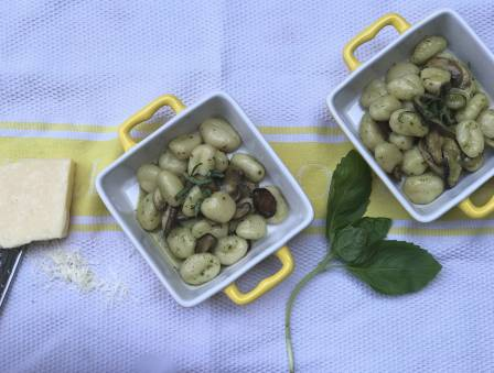 Garlic Basil Gnocchi with Mushrooms and Parmesan