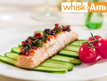 Grilled Salmon with Sun-Dried Tomato and Olive Dressing