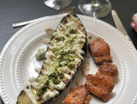 Grilled Side of Eggplant with Pesto Feta and Seared Salmon