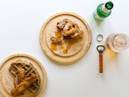 Potato Waffles and Beer-Battered Chicken Strips with Truffle Garlic Aioli