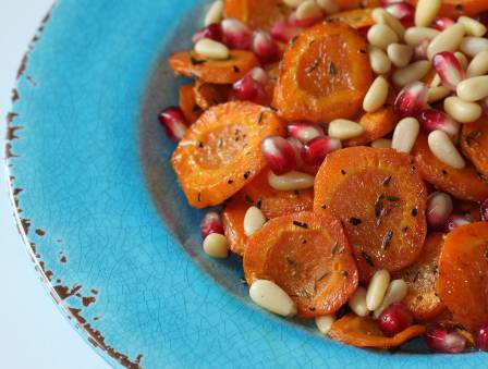 Canadian Style Carrot Tzimmes with Pomegranate