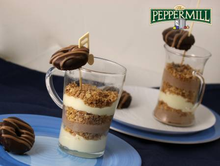 White Chocolate Praline Mousse with Praline Donuts