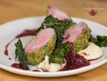 Crusted Lamb Loin, Parsnip Puree, and Blackberry Shallot Sauce