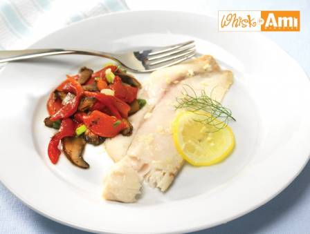 Lemon-Basil Tilapia with Roasted Peppers and Portobello Mushroom Salad