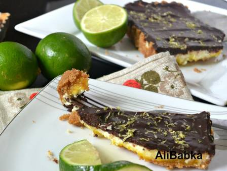 Lime Cheesecake with Sour Cream Chocolate Ganache