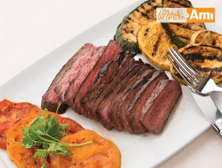 Marinated London Broil with Zucchini and Heirloom Tomatoes
