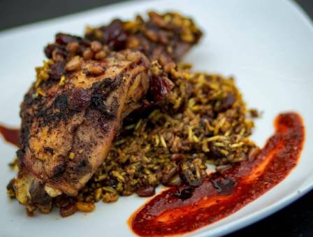 Maklouba: Arabic Chicken and Rice with Cranberries and Pine Nuts