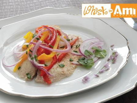 Mediterranean Tilapia with Vegetable Ribbons