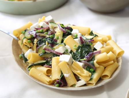 Pasta with Leafy Vegetables and Feta Cheese