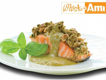 Pistachio Crusted Salmon with Eggplant Puree