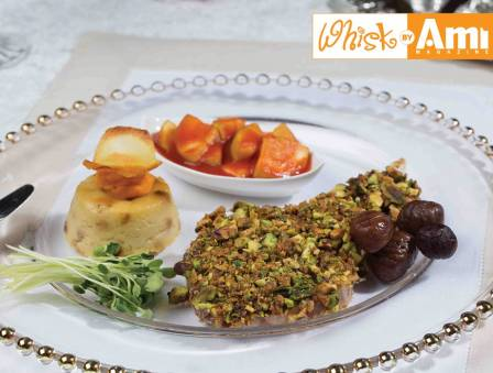 Pistachio-Crusted Veal Chops and Squash in Tomato Sauce