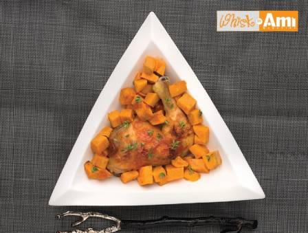 Roasted Apricot Chicken with Sweet Potatoes