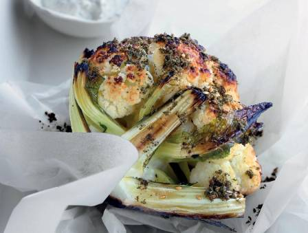 Nancy's Whole Roasted Cauliflower with Za'atar and Mint Yogurt Sauce