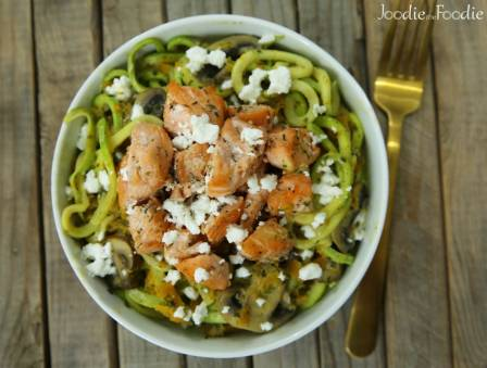 Salmon with Creamy Alfredo Zoodles