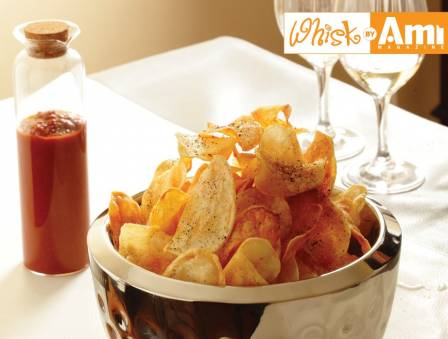 Salt, Pepper, and Vinegar Chips with Homemade Ketchup