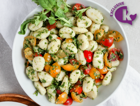 Pesto Gnocchi with Tricolor Tomatoes