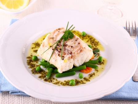 Sea Bass Nicoise with Saffron Tomato Jus