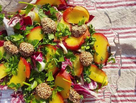 Bitter Radicchio and Peach Salad with Sesame Clusters