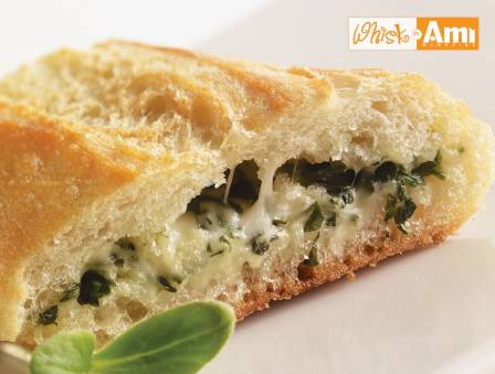Stuffed French Bread with Spinach, Herbs, and Cheese