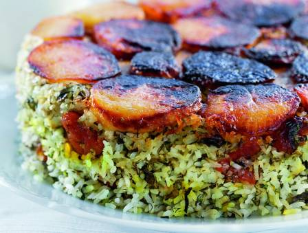 Tahdig- Rice Pilaf with Dried Apricots and Crispy Potato Crust