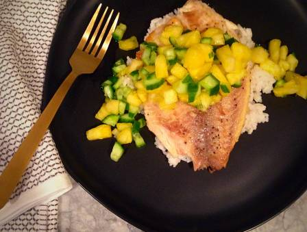 Seared Tilapia with Cucumber Pineapple Salsa