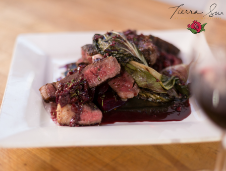 Ribeye Steak with Grilled Beets, Radicchio, and Spring Onions