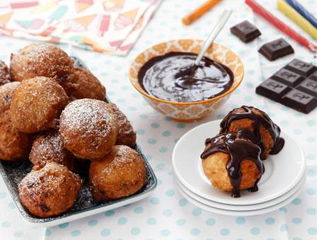Quick Vegan Donuts with Chocolate Sauce