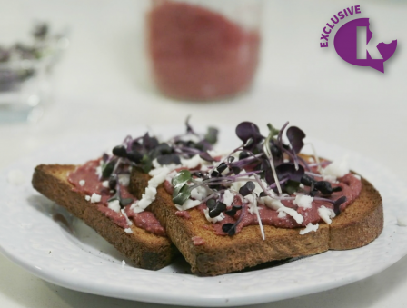 Beet Pesto Toast with Feta